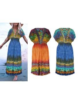 Wzorzysta sukienka maxi z dekoltem