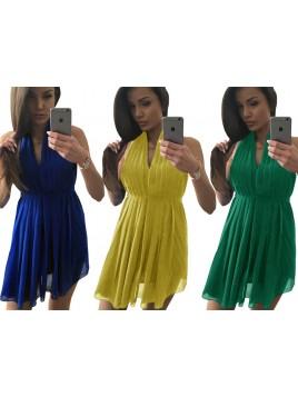 Elegancka szyfonowa sukienka wiązana w talii