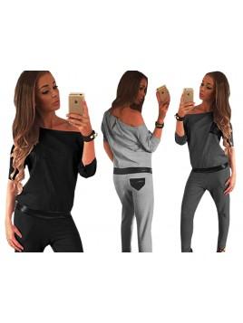 Kombinezon elegancki ze spodniami i wstawkami z eko skóry