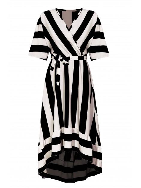 Asymetryczna sukienka w paski