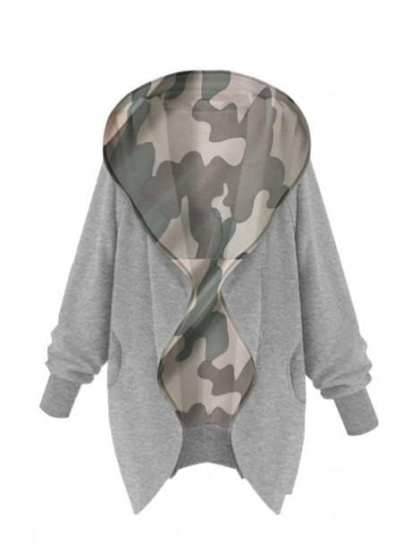 Bluza dresowa ze ściągaczami i wstawką moro
