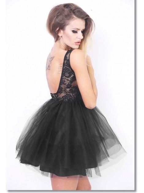 Koronkowa sukienka elegancka z tiulową spódnicą