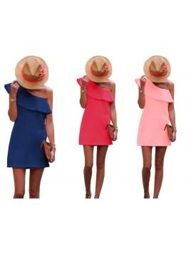 Asymetryczna sukienka z falbaną