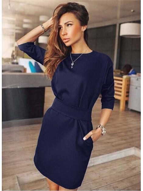 Elegancka, klasyczna sukienka z najmodniejszej pianki z paskiem