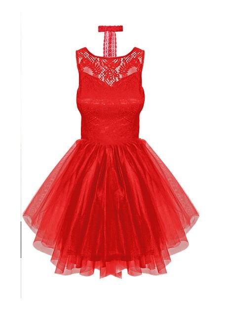 Elegancka, rozkloszowana sukienka z koronką i tiulową spódniczką