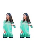 Klasyczna bluzka oversize z ozdobną kieszonką