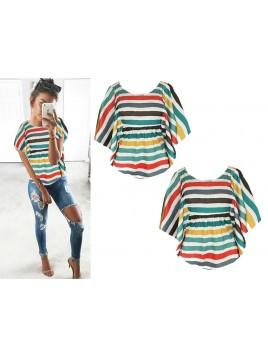 Modna trapezowa bluzka w kolorowe paseczki