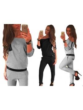 Elegancki kombinezon ze spodniami i wstawkami z eko skóry