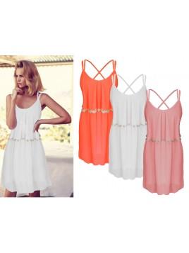 Neonowa sukienka z falbaną
