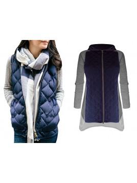 Modna asymetryczna pikowana kurtka