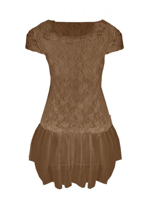 Modna koronkowa sukienka z tiulową spódnicą
