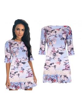 Sukienka ze wzorem kwiatowym i falbaną