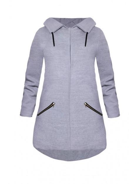 Flauszowy płaszcz z kapturem