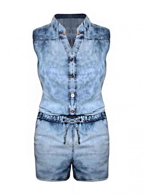 Kombinezon jeans'owy z regulowanym dekoltem zapinanym na guziki