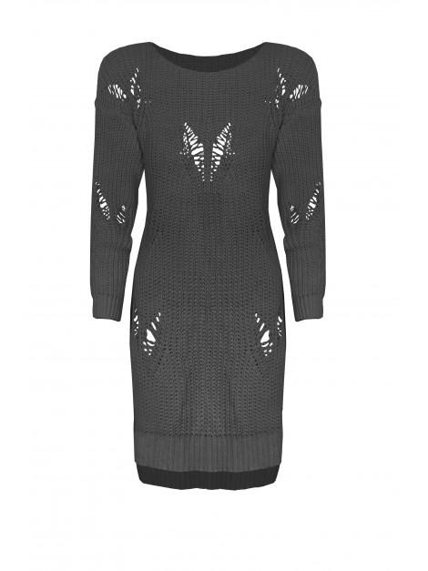Asymetryczny sweterek- tunika z modnymi wycięciami