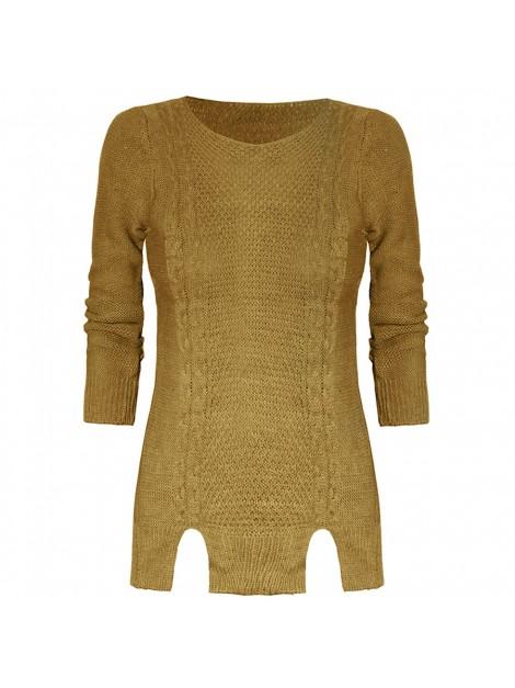 Dopasowany sweterek z wycięciami