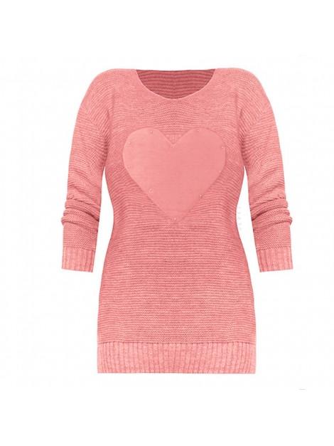 Sweterek z sercem i koralikami