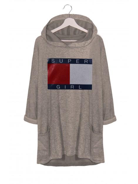 Asymetryczna bluzka-tunika z nadrukiem i kapturem