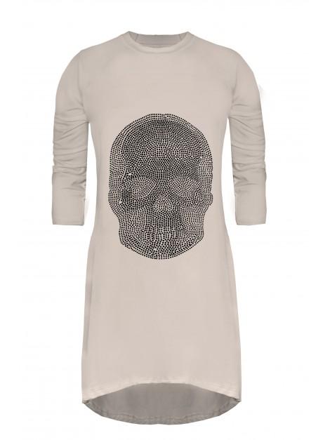 Asymetryczna tunika z modnym wzorem z cyrkonii
