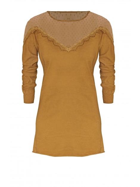 Koronkowa bluzka-tunika z długim rękawem i koronką przy dekolcie