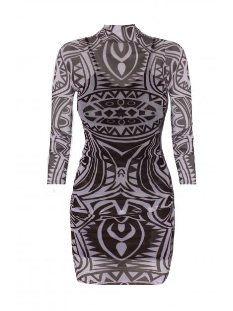Dopasowana, siateczkowa sukienka TATTOO DRESS