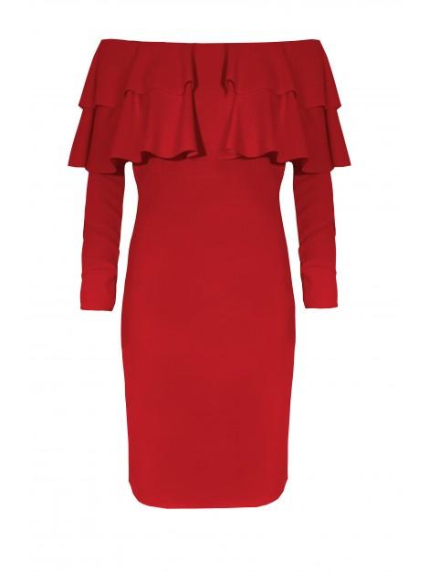 Dopasowana sukienka hiszpanka z długim rękawem