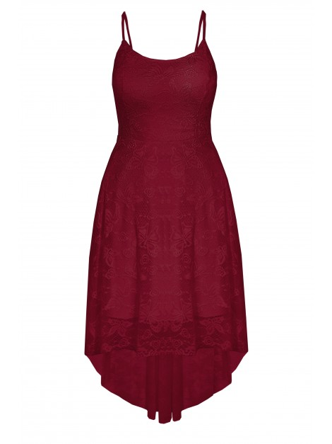 Zmysłowa asymetryczna sukienka z koronki w kwiatowy deseń