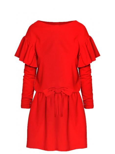 Kobieca mini sukienka z falbanami na rękawach
