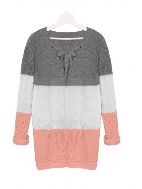 Sweterek oversize z wiązaniem przy dekolcie