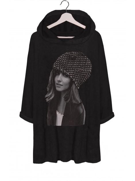 Bluza z kapturem z printem i perełkami