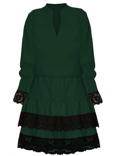 Elegancka sukienka z falbaną i koronką