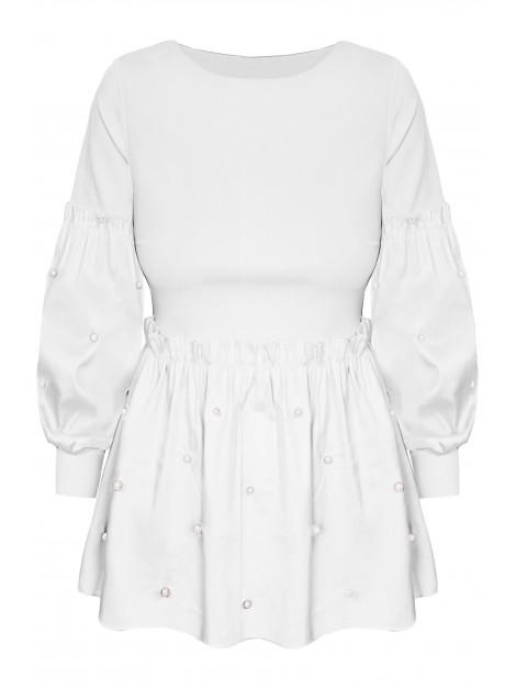 Elegancka bluzka z falbaną i perełkami