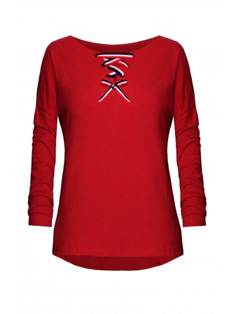 Asymetryczna bluzka z wiązaniem przy dekolcie