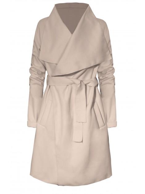 Elegancki płaszczyk z wiązanie i kieszeniami