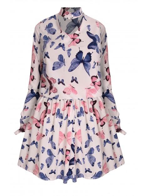 Sukienka mini z chokerem oraz printem