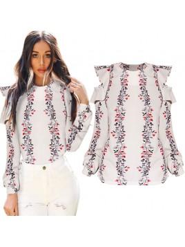 Bluzka z open shoulders i printem kwiatowym