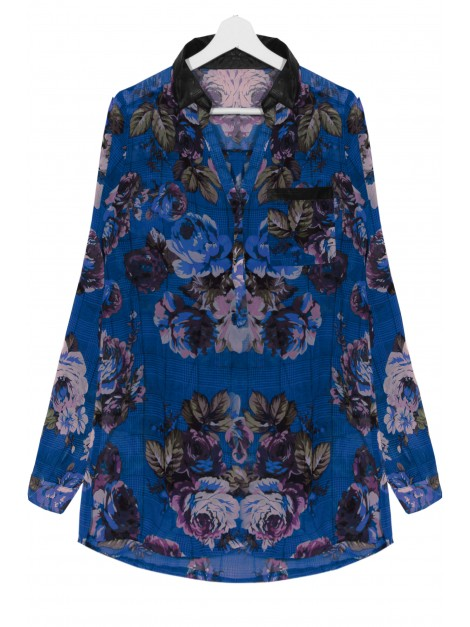 Koszula floral print z wstawkami z eco skóry