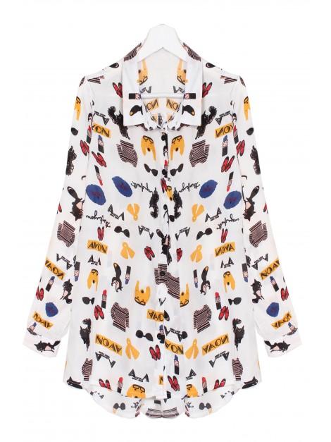 Asymetryczna koszula z nowoczesnym print'em