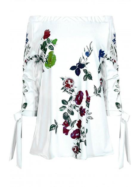 Bluzka hiszpanka z printem kwiatowym