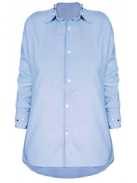 Asymetryczna koszula w paski z perełkami