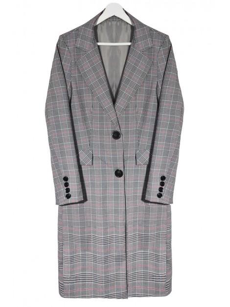Klasyczny płaszcz w drobną kratkę