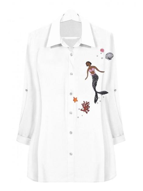 Delikatna koszula z naszywkami