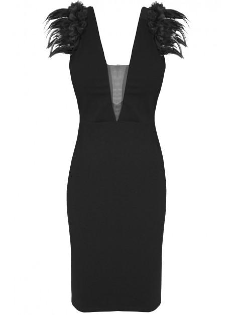 Dopasowana sukienka z rękawami ozdobionymi piórami