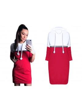 Dwukolorowa sukienka z kapturem