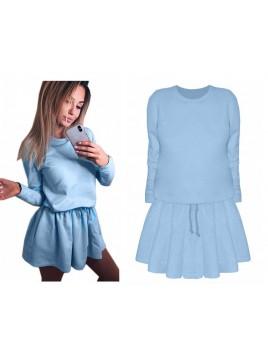 Dresowa mini sukienka z długim rękawem