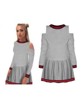 Mini sukienka open shoulders z wstawkami al'a gucci
