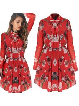 Sukienka z printem i wiązanym dekoltem