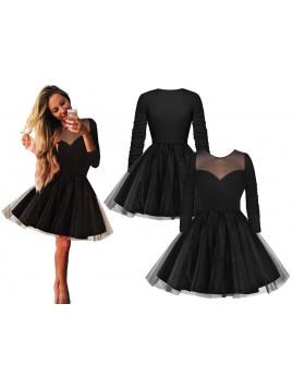 Sukienka z tiulową spódnicą i dopasowaną górą z dekoltem z szyfonu