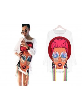 Asymetryczna bluza z printem
