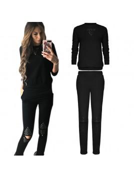 Kobiecy zestaw sportowy bluza i spodnie z rozciętymi kolanami